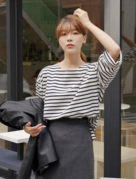 Mellow stripe cotton T_J (size : free)