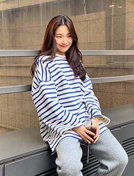 Stripe napping cotton T_K (기모) (size : free)