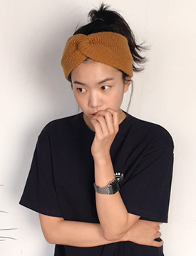 Twist ribbon knit turban_B (size : one)