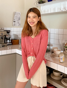 Touch linen simple cardigan_K (린넨 55%) (size : free)