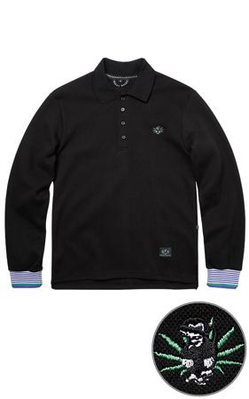와키바키 몽키자수 소매배색 카라 티셔츠(Black)