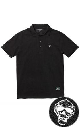 와키바키 해골자수 반팔 카라 티셔츠(Black)
