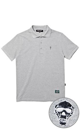 와키바키 해골자수 반팔 카라 티셔츠(Gray)