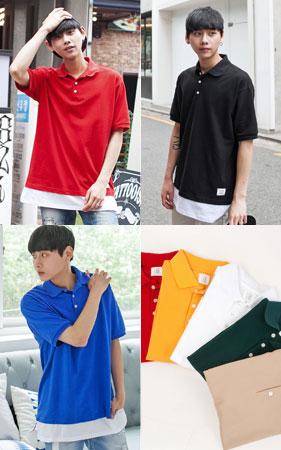 7color 레이어드 패치 카라티셔츠