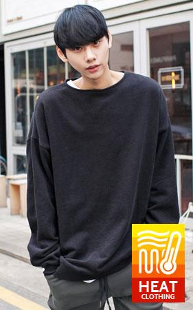 기모 보트넥 맨투맨 티셔츠