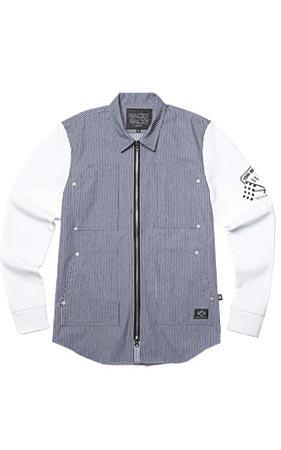 와키바키 지퍼 배색셔츠 자켓(Blue)
