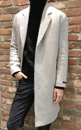 프리미엄 스냅버튼 싱글 앙고라 코트