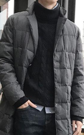 스퀘어 베이직 패딩 코트