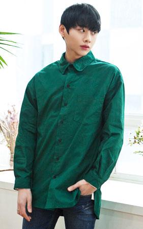 라운드카라 오버핏 셔츠