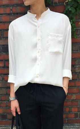 가벼운 오버핏 차이나 셔츠
