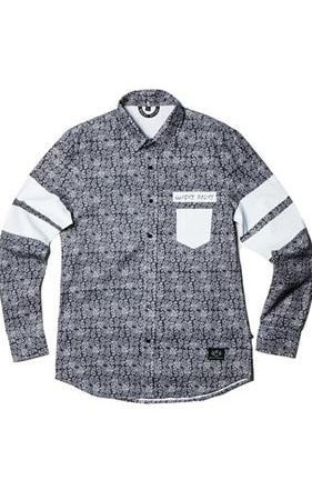 와키바키 페이즐리패턴 나염 소매배색 셔츠(Black)