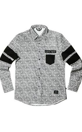 와키바키 페이즐리패턴 나염 소매배색 셔츠(White)
