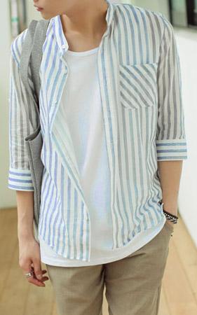 썸머 스트라이프 7부셔츠
