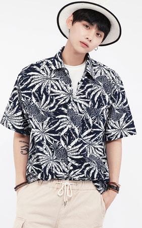 파인애플 오버핏 하와이안셔츠