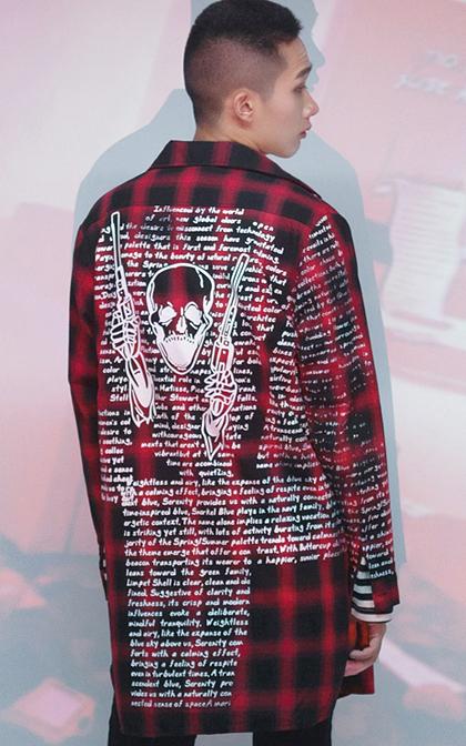 [투패스트]스컬나염 타탄체크 루즈핏 롱셔츠