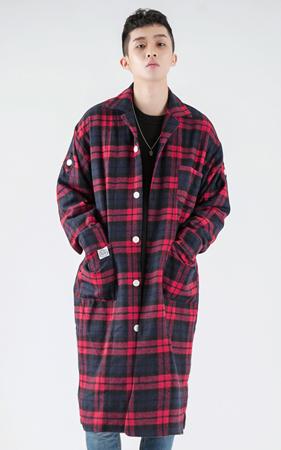 [투패스트]타탄체크 오버핏 롱 셔츠