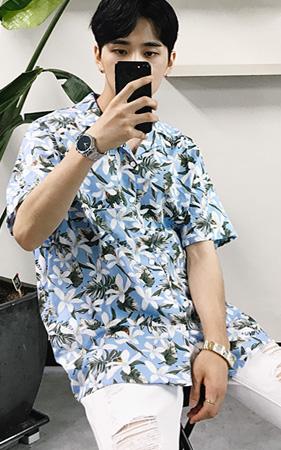 플라워 하와이안 셔츠