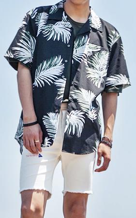 아레카 낙엽 하와이안 셔츠