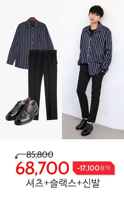 모즈 스트라이프 오버핏 셔츠 코디세트