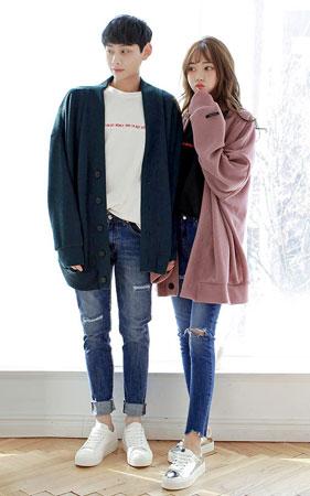 가디건+청바지 코디세트