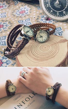 꽈배기 레이어드 손목시계